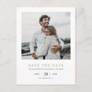 simple modern save the date wedding invitation postcard with photo and gold text
