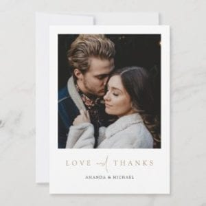 simple modern wedding thank you flat card with love and thanks in gold and photo with borders