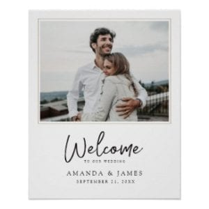 simple modern wedding welcome sign with picture and black script