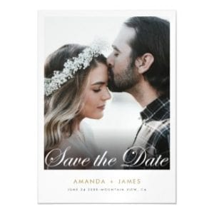 modern wedding save the date invitation magnet with photo and script