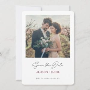 simple modern wedding save the date flat card template with photo, black calligraphy script and names in burgundy