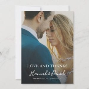 full photo love and thanks wedding thank you flat card with modern white calligraphy script