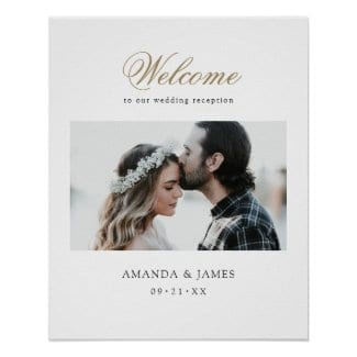 wedding reception welcome poster wiith photo and gold script