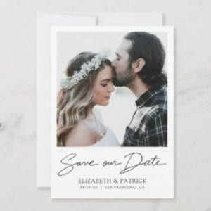 modern minimalist photo save the date card with black script and borders.