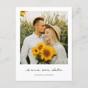 simple modern photo save our date postcard template with borders and a vintage instant photo look.
