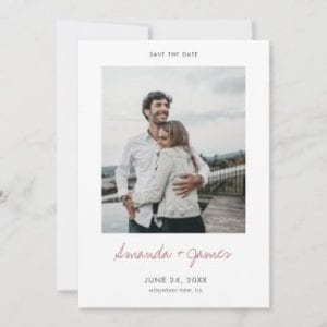 Wedding save the date card template with modern rose gold names script and photo.