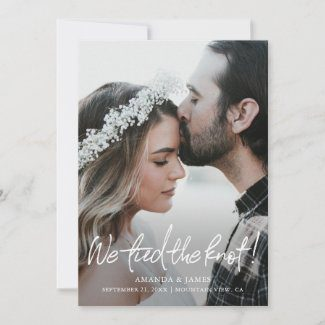 Modern wedding elopement announcements with fill photo in a flat card format with we tied the knot! text in a casual white handwriting script.