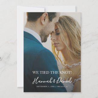Simple modern photo elopement announcements with whimsical white names script