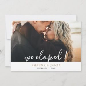 Simple elopements announcements with photo, modern white handwriting script and names in gold.