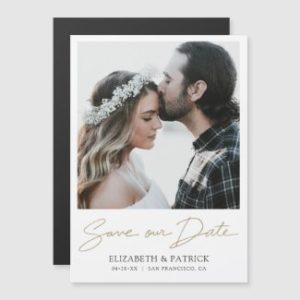 Simple Modern save the date magnet with photo and save our date script in gold.