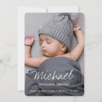 Custom photo baby announcements with modern white script.