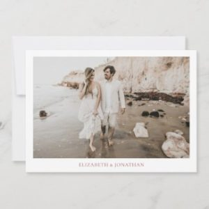simple save the date invites in flat card format with borders and photo with rose gold text.