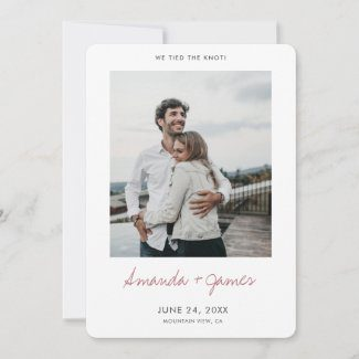 Simple modern photo we tied the knot announcements in flat card format with rose gold script.