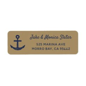 Nautical return address labels with anchor and navy blue and gold.