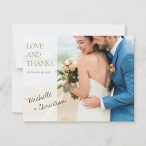 Elegant modern wedding thank you cards with photo and love and thannks in gold.
