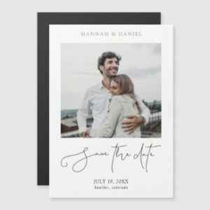 Minimalist wedding save the date magnets with photo and modern script.