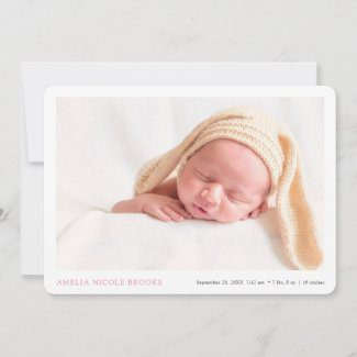 Simple modern baby arrival announcement cards with photo and pink name text.