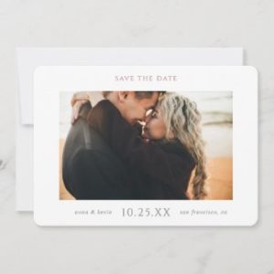 Elegant modern save the date wedding invitations in a horizontal flat card format with photo and rose gold and grey text.