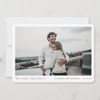 Elopement announcements with simple modern borders and photo with rose gold We tied the knot! text.
