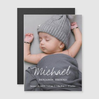 Birth announcement magnet with custom photo for boy or girl.
