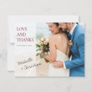 Custom wedding thank you photo cards wqith burgundy love and thanks text.
