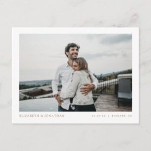 Simple photo save the date postcards with modern minimalist borders.