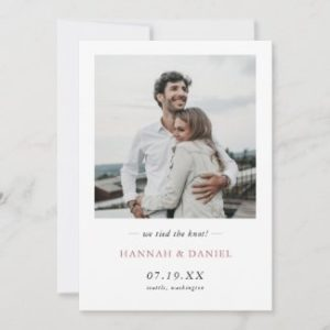 simple elegant wedding elopement announcements with photo and rose gold text.