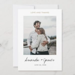 Simple modern wedding photo thank you card with gold love and thanks text.