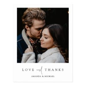 Simple modern photo wedding thank you postcards with love and thanks text in black.