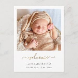 Custom birth announcement postcards with photo and modern script.
