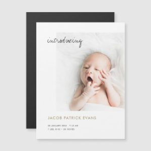 Moagnet birth announcements with photo and modern script.