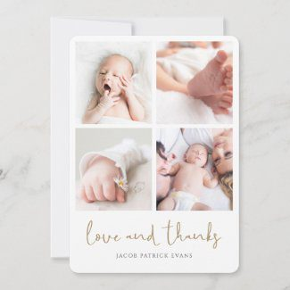 Custom multi photo baby shower thank you card with modern gold script.