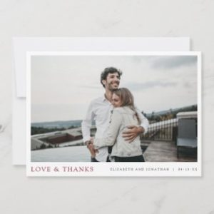 Simple modern thank you wedding cards with photo and love and thanks text.