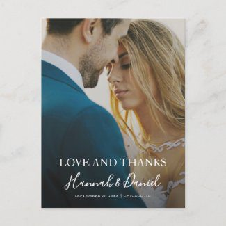 Wedding thank you postcards with full photo and modern white script.