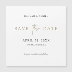 Minimalist save the date magnets with gold typography.