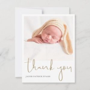 Simple modern baby shower thank you card with photo and gold script.