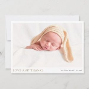 Custom photo baby shower thank you card with gold.
