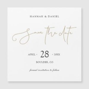 Simple save the date magnets with modern gold script without photo.