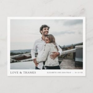 Simple Modern thank you postcards for wedding with photo in horizontal format.