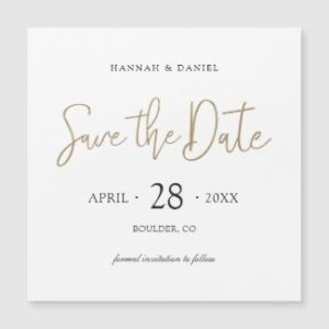 Square wedding invitation magnets with modern gold save the date script.