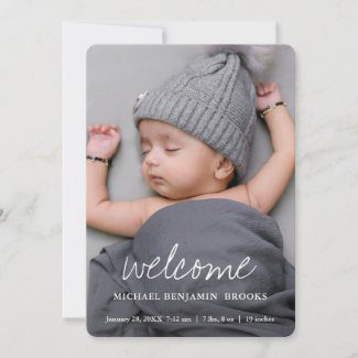 Baby photo announcement cards with welcome in modern white script.