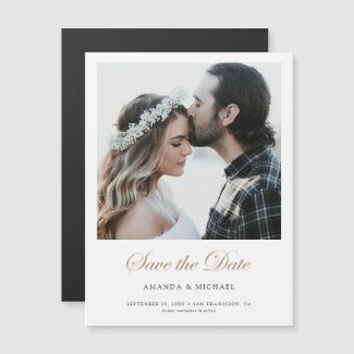 Elegant save the date magnet with photo and gold script.