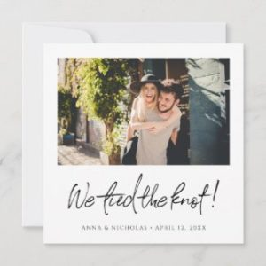 Photo wedding announcement card with 'we tied the knot!' text in black.