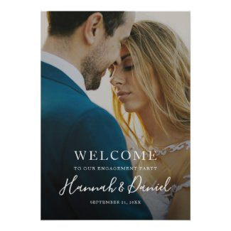 Engagement party welcome poster with full photo and modern white script.