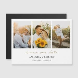 Photo collage save the date magnets with save our date script in gold.