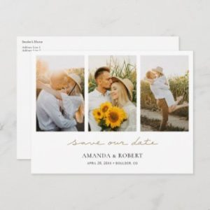 Photo collage save the date postcards with save our date in gold script.