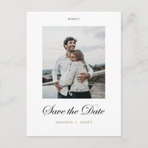Save the date edding postcard with photo, modern black script and gold names text.