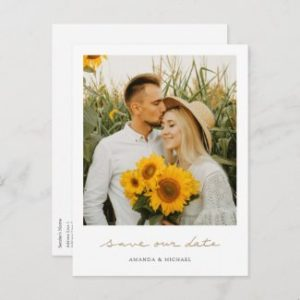 Simple photo save the date postcards with save our date in gold handwriting.